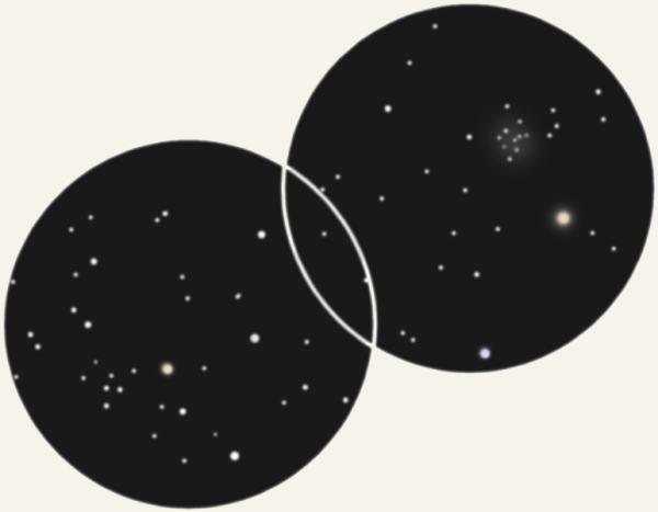 Зарисовка автора в бинокль 10х50 IC 4665 (справа) и Телец  Понятовского (Слева)