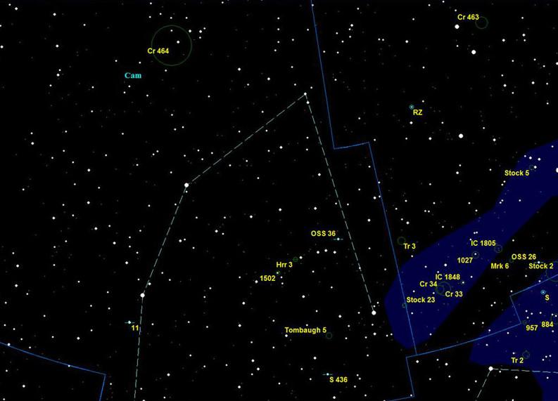 Поисковая карта по созвездию Жираф