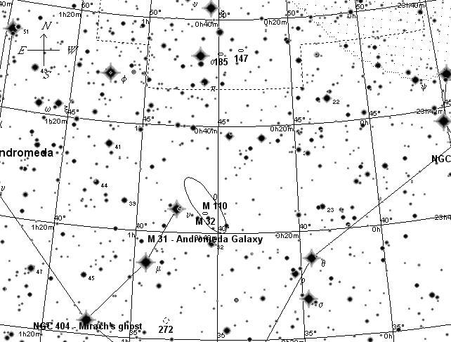 Галактика Андромеды и ее спутники. Поисковая карта