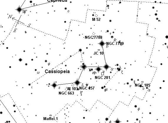 Общая карта созвездия Кассиопея