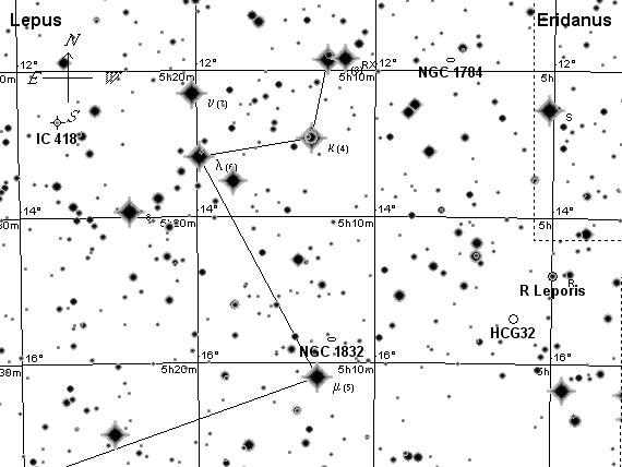 Заяц созвездие, поисковая карта1