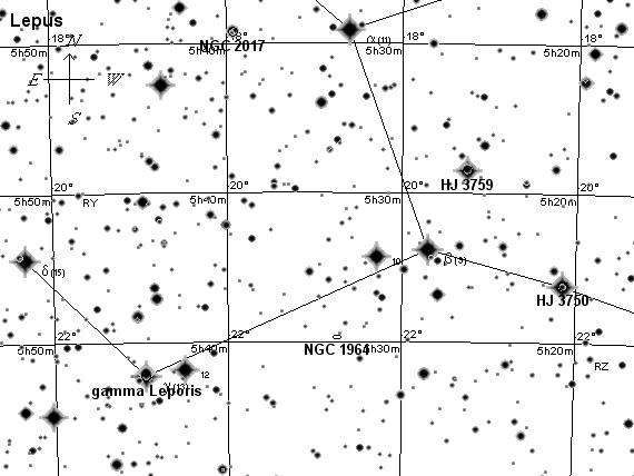 Созвездие Заяц, поисковая карта 2
