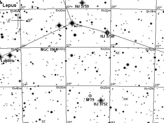 Созвездие Заяц, поисковая карта3