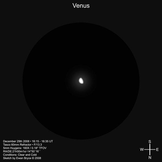 Вид Венеры в небольшой телескоп
