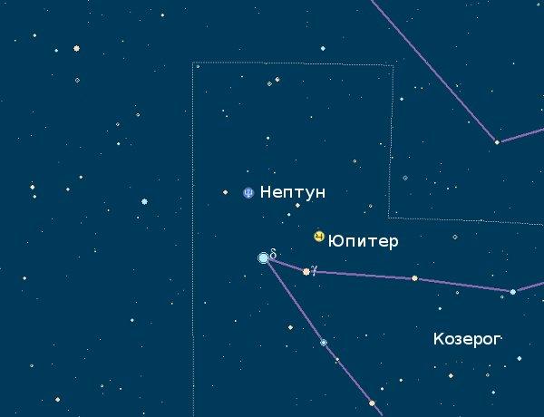 Нептун и Юпитер 16 августа