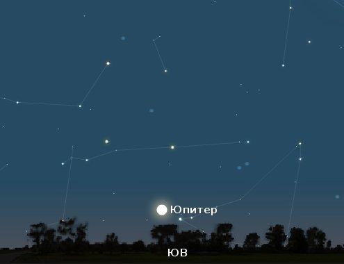Юпитер на утреннем небе 24 мая