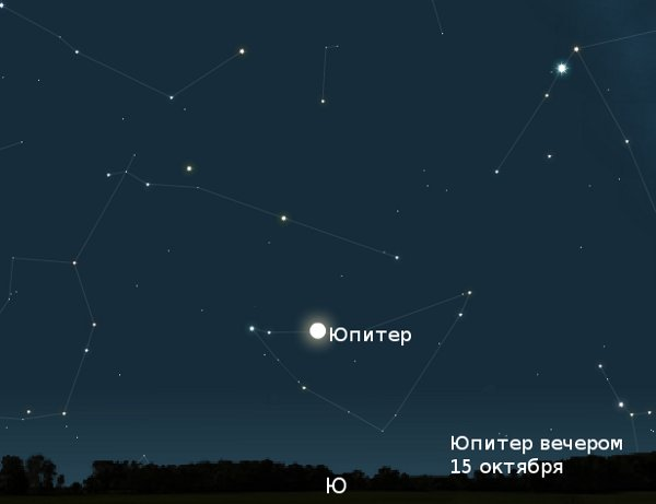 Юпитер вечером 15 октября