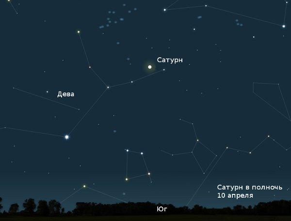 Сатурн ночью в апреле 2010 года