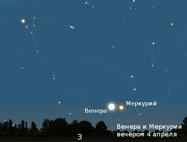 Венера и Меркурий вечером в апреле 2010