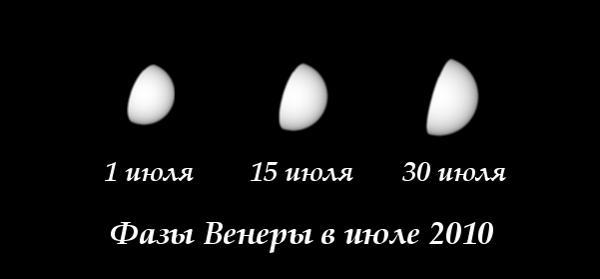 Фазы Венеры в июле 2010 года