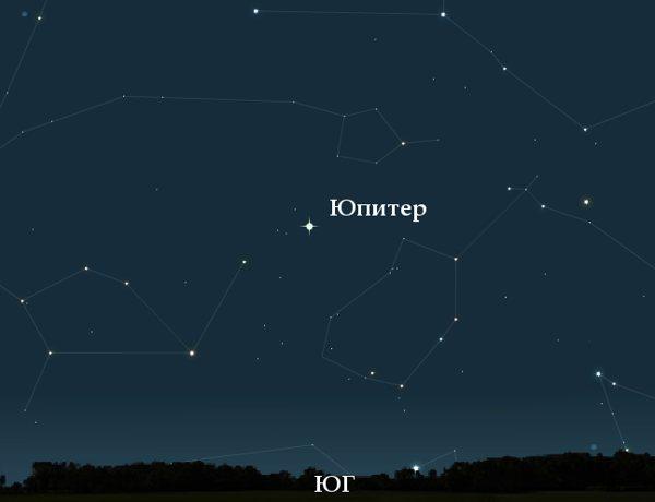 Юпитер на ночном небе в октябре 2010