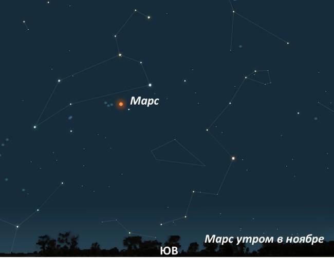 Марс утром в ноябре 2011