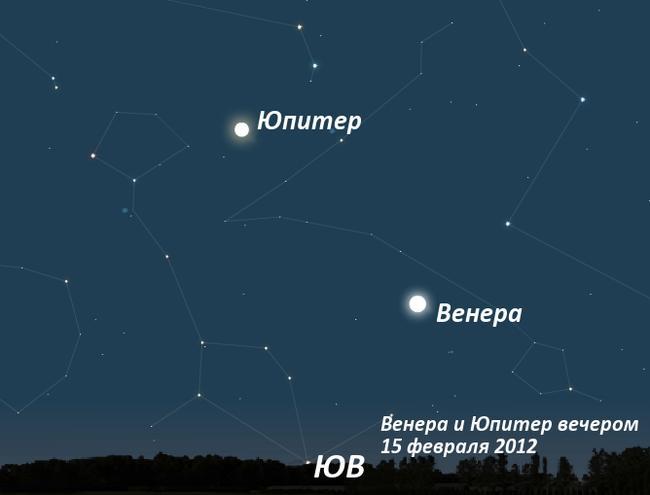Юпитер и Венера в феврале 2012