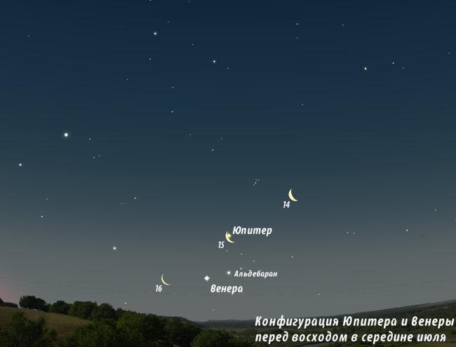 Венера, Юпитер, Луна в июле 2012