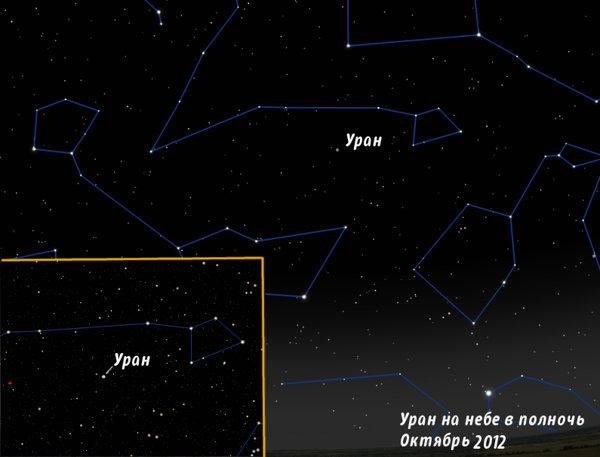Уран на небе в октябре 2012