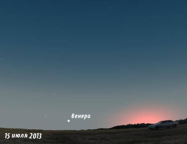 Венера на закате в июле 2013