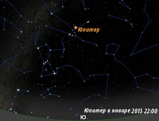 Юпитер в январе 2013 года