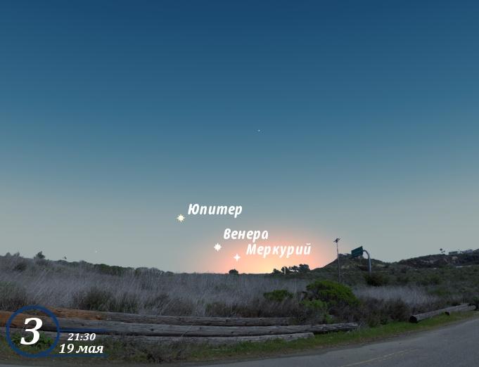 Юпитер, Венера и Меркурий в мае 2013