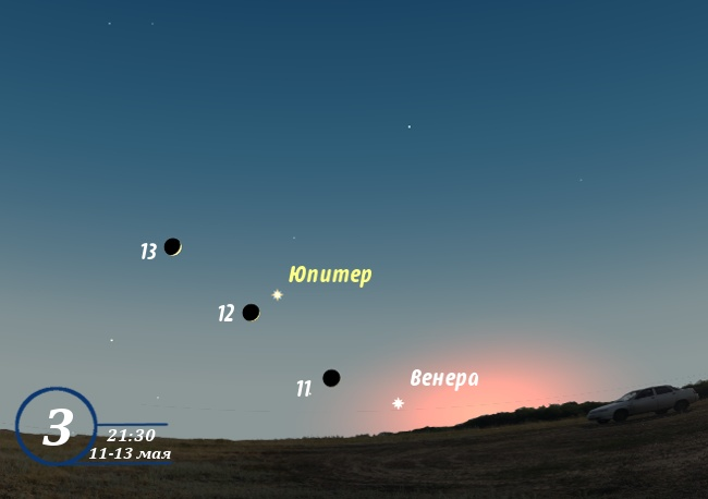 Юпитер, Венера и Луна в мае 2013