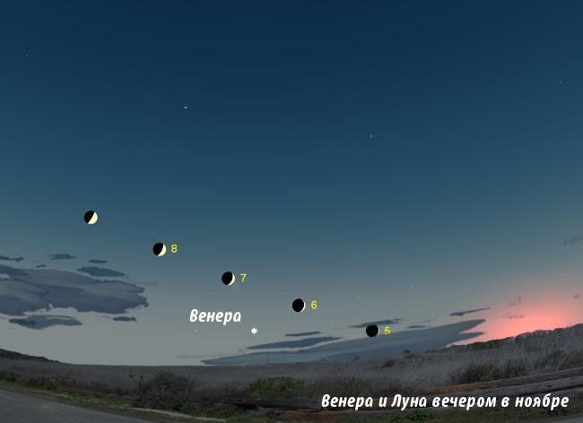 Венера и Луна на небе в ноябре 2013 года