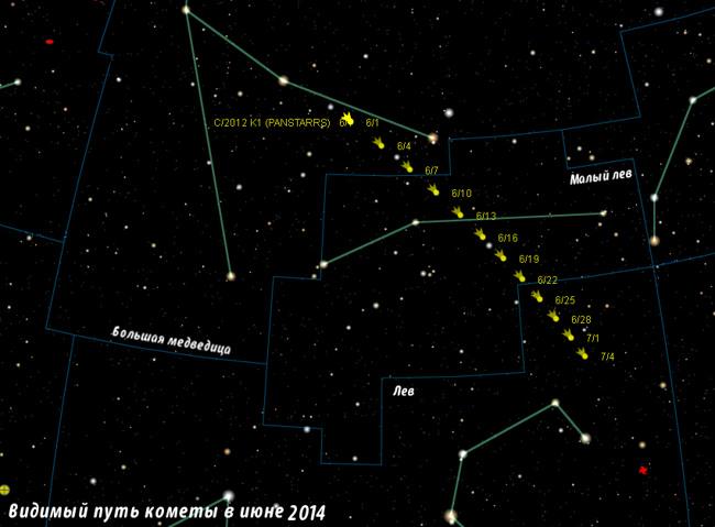 Поисковая карта кометы  C/2012 K1 (PANSTARRS)