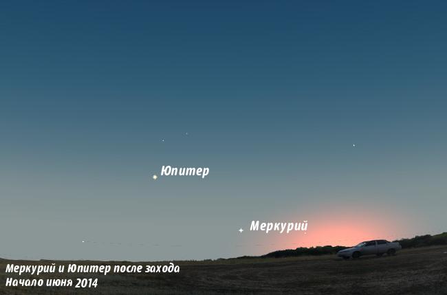 Меркурий и Юпитер в июне 2014