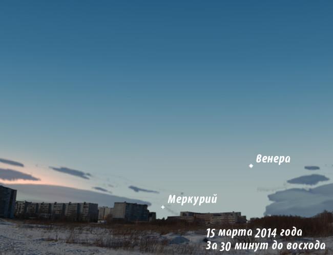 Венера и Меркурий утром в марте 2014