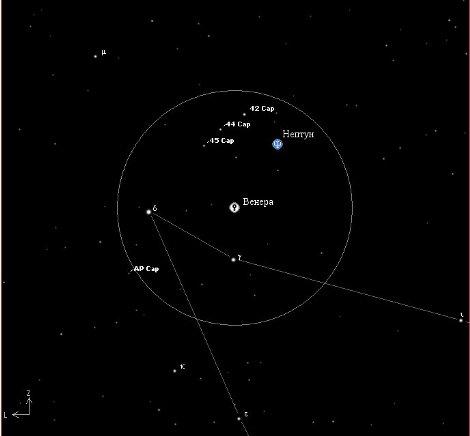 Вид в бинокль соединения Венеры и Плутона 27 декабря