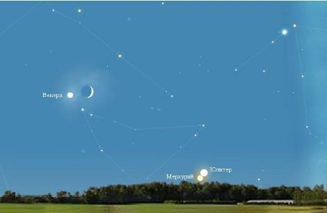 Вид юго-западной части неба 31 декабря, через 20 минут после захода солнца