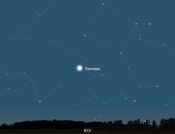 Венера на вечернем небе в начале февраля.